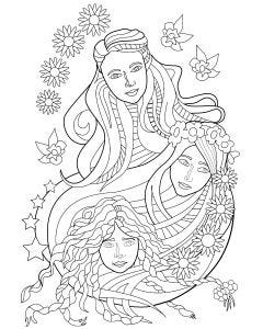 3 Girls Colouring Page