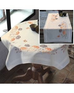 Embroidery Tablecloth & Runner Seedheads & French Knots