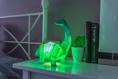 Dinosaur Lamp Green Origami Diplodocus Night Light by Disaster Designs