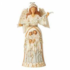 Breath of Heaven (White Woodland Nativity Angel Figurine)