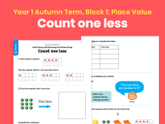 Y1 Autumn Term – Block 1: Count one less maths worksheets