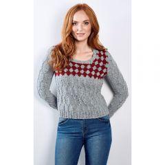 Festive Diamond Yoke Sweater Knitting Pattern