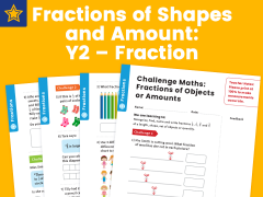 Fractions of Shapes and Amount: Y2 – Fractions – Maths Challenge