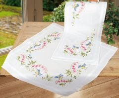 Blue Tits On Bleeding Hearts Embroidery Cross Stitch Tablecloth & Runner Kit