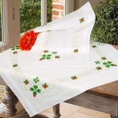 Lucky Clover Stem & Cross Stitch Tablecloth And Runner Embroidery Set
