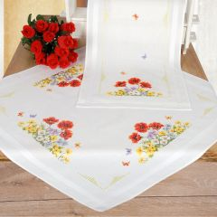 Poppy and Primulas Stem & Cross Stitch Tablecloth And Runner Embroidery Set