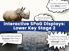 Interactive SPaG Displays: KS2 – Conjunctions; Present Perfect Tense; Pronouns; Conjunctions, Adverbs and Prepositions for Time; Conjunctions, Adverbs and Prepositions for Cause; Fronted Adverbials