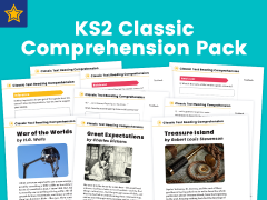 KS2 Classic Text Reading Comprehension Pack: Treasure Island, Great Expectations, and The War of the Worlds