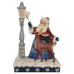 Santa By Lighted Lamppost Figurine