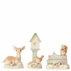 White Woodland Mini Accessory (3 Piece Set - Birdhouse, Deer, Squirrel Figurine)
